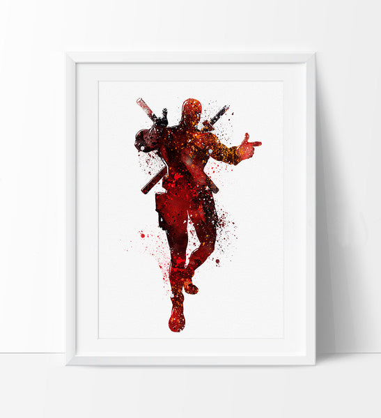 Dead Pool Watercolor Print, Dead Pool Art, Watercolor Dead Pool Print, Super Hero Poster, Wall Art Poster  (99)