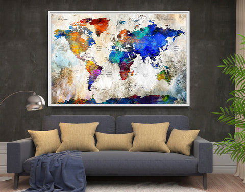Extra Large Wall Art Push pin world travel map, Push pin travel map Wall Art Print, world map poster, World Travels Map, Map Art Print (L72)