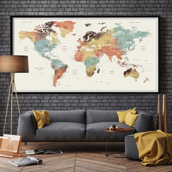 large wall art world map push pin print watercolor world map print fine art center. Black Bedroom Furniture Sets. Home Design Ideas