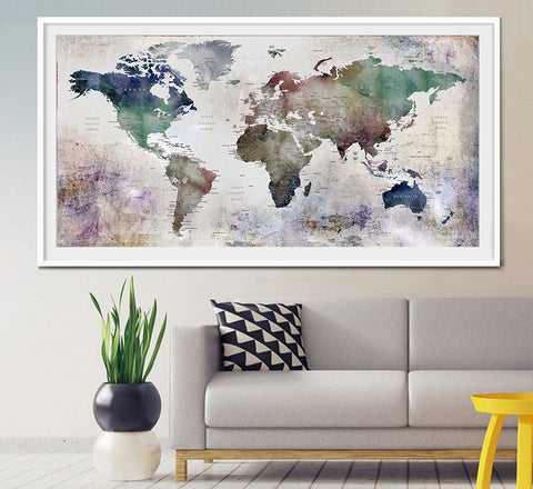 World map wall art world map poster world map art world map large world map watercolor push pin push pin travel wolrd map wall art extra large watercolor world map poster home decor print l26 gumiabroncs Gallery