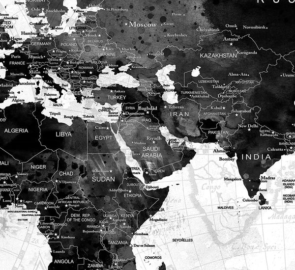 Large watercolor map world push pin travel cities wall black white large watercolor map world push pin travel cities wall black white gray home decor push gumiabroncs Images