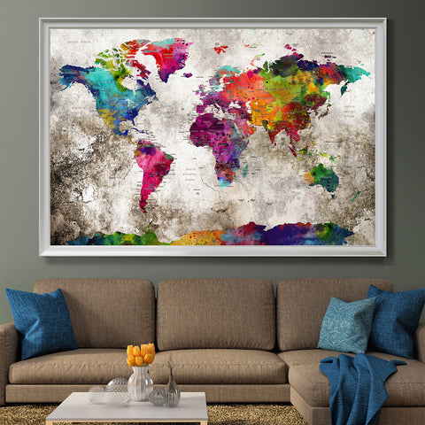 Push pin travel map Wall Art Print, Extra Large Wall Art Push pin world travel map, world map poster, World Travels Map, Map Art Print (L33)