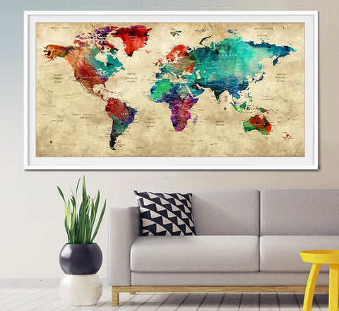 Push Pin Travel World Map, Push Pin Travel Map, Watercolor World Map Print, Push pin world map, pushpin map, Wall Art, world map poster (L4)