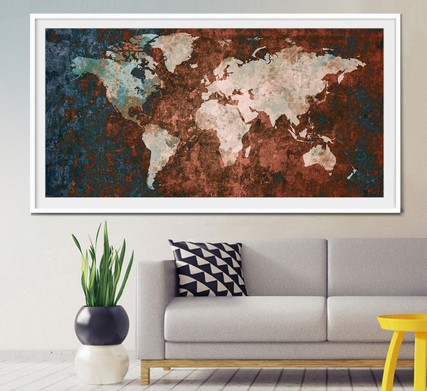 World Map Print, Wall Decor, World Map Art, Large World Map, Abstract Art Print, Abstract World Map, Abstract Painting, World Map Art (L9)
