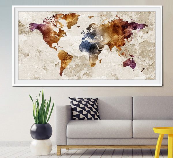 World map wall art, World map poster, world map art, world map painting, world map vintage, Wall Art Print, Decor,Print, Poster (L21)