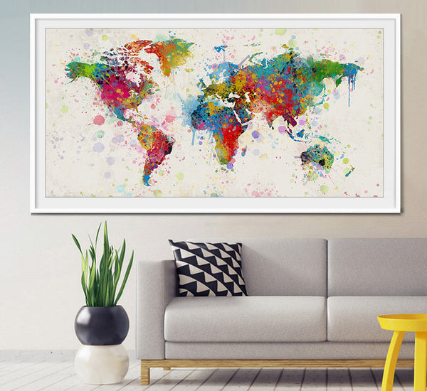 Extra Large Watercolor World Map, World Map Art, Travel World Map Wall Art, World Map Wall Art, Map Poster Print, Home Decor (L8)
