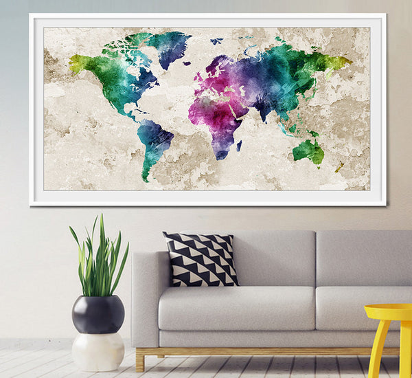 ... World Map Wall Art, World Map Poster, World Map Art, World Map Painting  ...