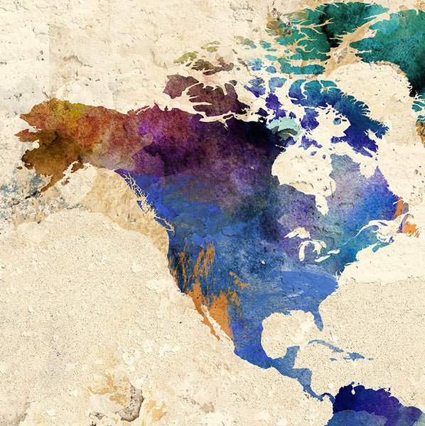 World Map World Map Print Large World Map Watercolor Map - Large world map print out