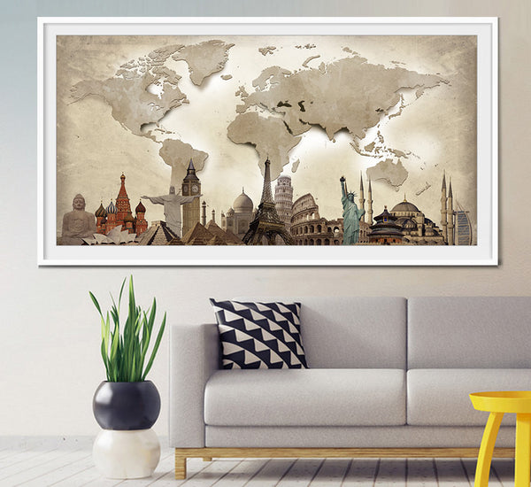 ... World travel map World Map Poster World map wall art Extra Large Wall ... : map of the world wall art - www.pureclipart.com