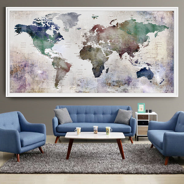 Decor World: Large World Map Watercolor Push Pin, Push Pin Travel Wolrd