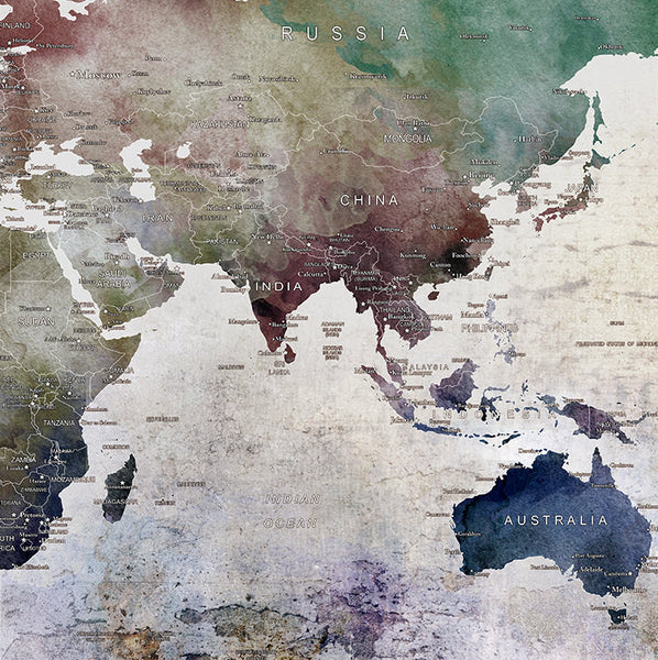 Large World Map Watercolor Push Pin Push Pin Travel Wolrd Map - Large us road map poster