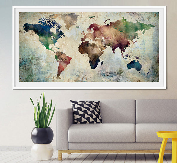 Large World Map Art, Extra Large Art, World Map Watercolor, Wall Art World Map, Watercolor Map Art, Extra Large Wall Art, Home Decor (L28)