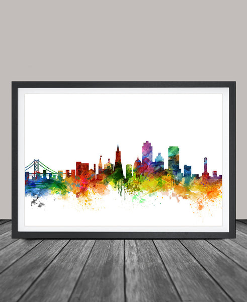 San Francisco Skyline Watercolor Print, California San Francisco Cityscape Art Print, Watercolor Skyline (17)
