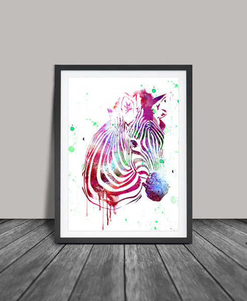 Zebra Wall Art zebra watercolor art print, zebra wall art, watercolor art