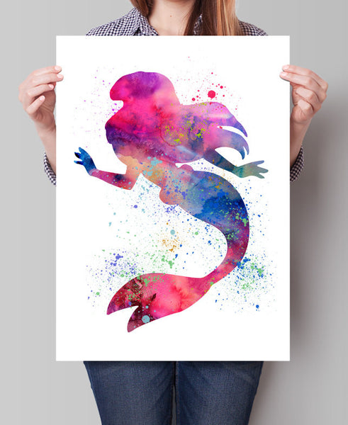Ariel Disney Watercolor Wall Art, Princess Watercolor Painting, Disney Print, Watercolor Disney Princess Art Print, Nursery Art Print (37)