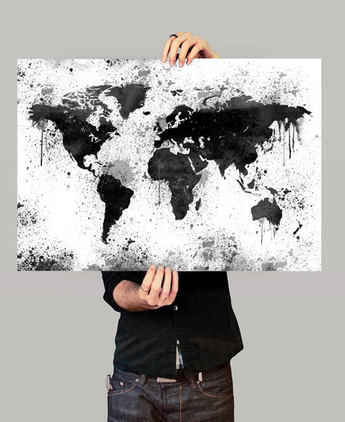 World Map Print, Large World Map, Map Art Print, Map Poster, Watercolor World Map ,Wall Art, Home Decor World Map, Watercolor Splash (07)