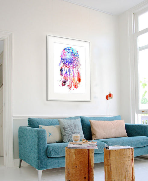 Dream Catcher Watercolor Print, Dream Catcher Art, Watercolor Art Poster, Home Decor, Watercolor Painting(83)