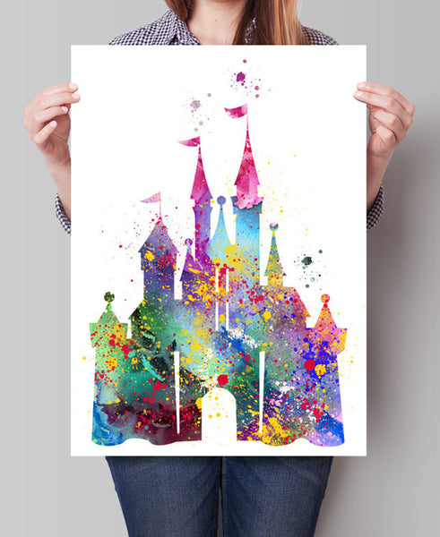 Disney Castle Watercolor Print, Disney Art Print, Disney Castle Print , Watercolor Art Painting Disney Castle Art (96)