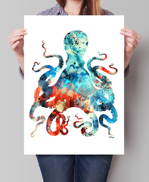 Octopus Art, Octopus Watercolor Print, Octopus Painting Wall Art, Watercolor Painting, Watercolor Art, Octopus Print Poster(102)