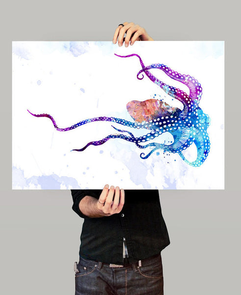 Octopus Watercolor Print, Octopus Art Print, Watercolor Art, Animal Watercolor, Octopus Home Decor Wall Art, Octopus Painting Print (06)