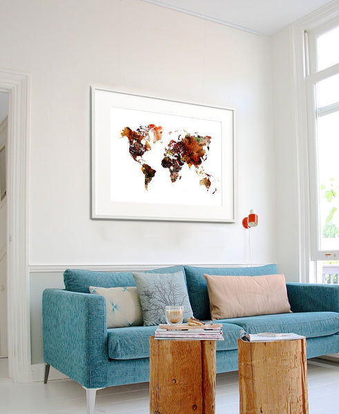 World Map Poster, World Map Art, Colorful Abstract World Map, Watercolor Map Art Print, Travel Map (103)