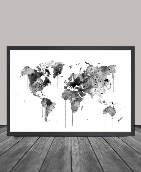 Watercolor World Map Art Print, WATERCOLOR MAP, Wall Art Watercolor World Map Poster, Large Map Art Painting (105)