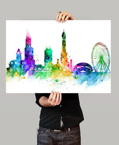 Chicago Skyline, Chicago Cityscape, Chicago Print, Watercolor Art, Watercolor Painting,Chicago City Art, Map Poster, Skyline Art(119)