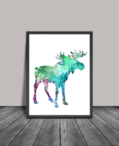 Moose Watercolor Print, Moose Art Print, Watercolor Print, Watercolor Painting, Moose Home Decor Poster, Animal Painting (122)