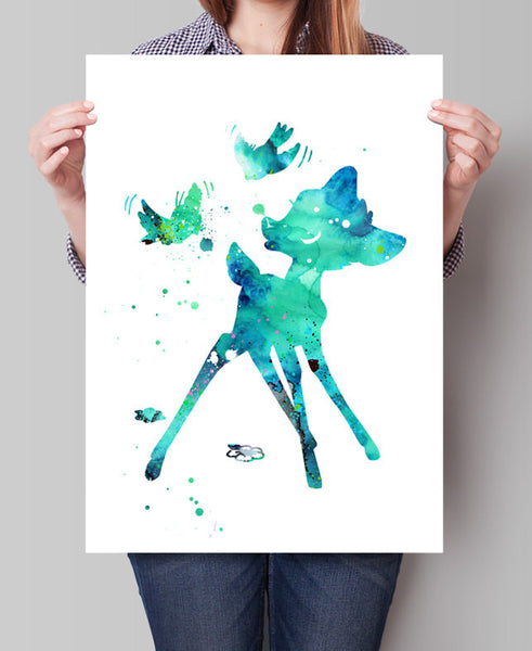 Bambi Nusery Wall Art, Bambi Art Disney Watercolor Print, Nursery Disney, Disney Art, Disney Poster, Bambi Print, Nusery Decor(123)