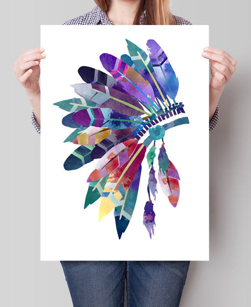 Feather Headdress Wall Art, Headdress Painting , Feathers Print, Watercolor Headdress Art Print, Headdress Poster ,Feathers Poster(167)