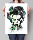 Bride of Frankenstein Art Print, Bride of Frankenstein Poster, Watercolor Painting, Watercolor Print, Halloween Wall Art (138)
