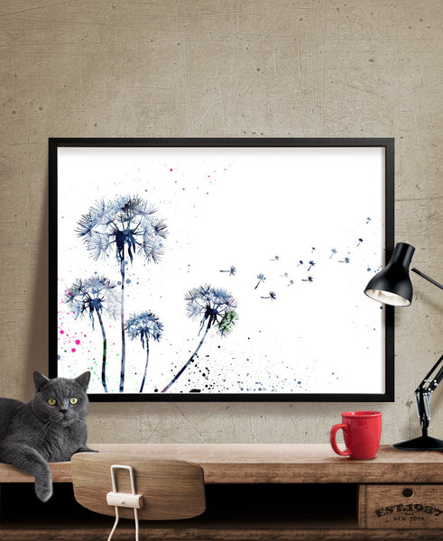 Dandelion Watercolor Print,  Flower Painting poster, Nature Art Print, Watercolor Art  Giclee Art Print (51)