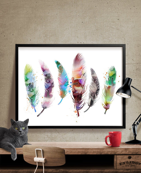 Watercolor Print, Watercolor Art Feather, Feather Art Print, Feather Watercolor Poster, Home Decor Wall Art Print, Watercolor Painting(29)