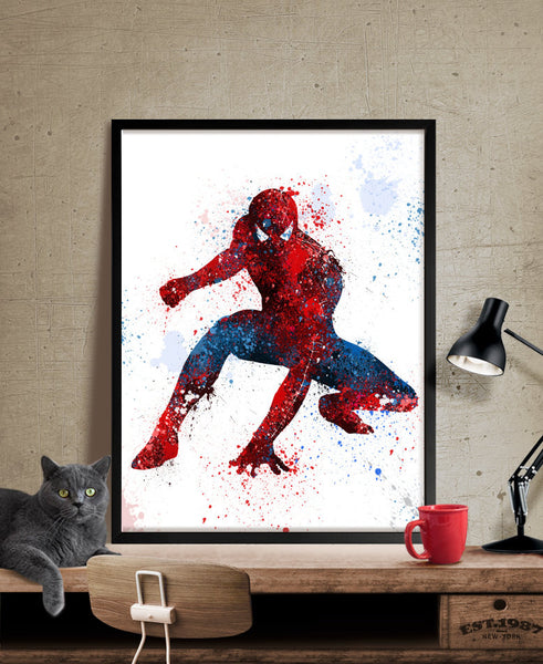 spiderman art print watercolor art superhero wall art spiderman pos fine art center. Black Bedroom Furniture Sets. Home Design Ideas