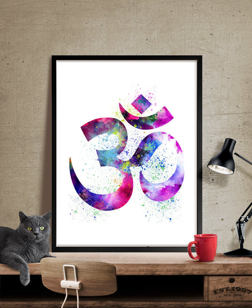 Yoga Art Print, Yoga Artwork, Om Symbol Yoga Art, Watercolor Yoga Art, Buddha Art,Wall Art Print Watercolor, Yoga Poster  (34)