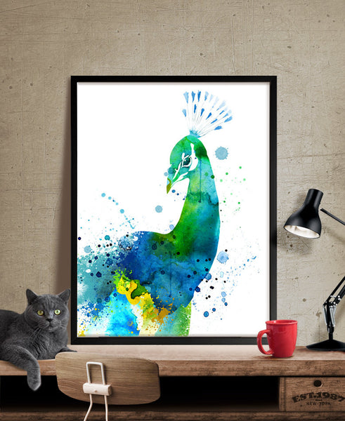 Peacock Watercolor Painting, Peacock  Art, Wall Art Poster,Peacock  Decor, Art Print, Peacock  Print, Animal Art (141)