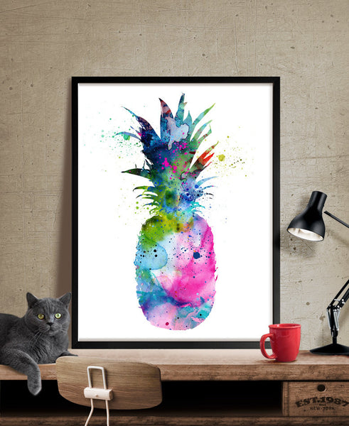 Pineapple Watercolor Print, Pineapple Decor, Watercolor Art, Botanical Watercolor Print, Kitchen Decor Poster, Watercolor Painting(112)