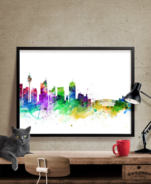 Sydney Skyline Watercolor Print, Sydney Australia Cityscape Art Print, Watercolor Skyline (131)