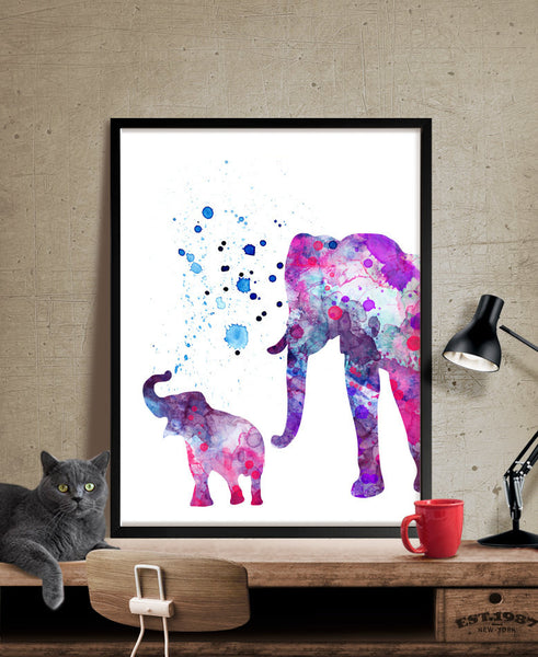 ... Elephant Print, Elephant Watercolor Wall Art, Elephant Painting,  Illustration Elephant Poster Wall Decor ...