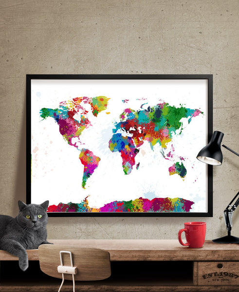 Splash World Map Colorful World Map Ink Splash World Map - Colorful world map painting