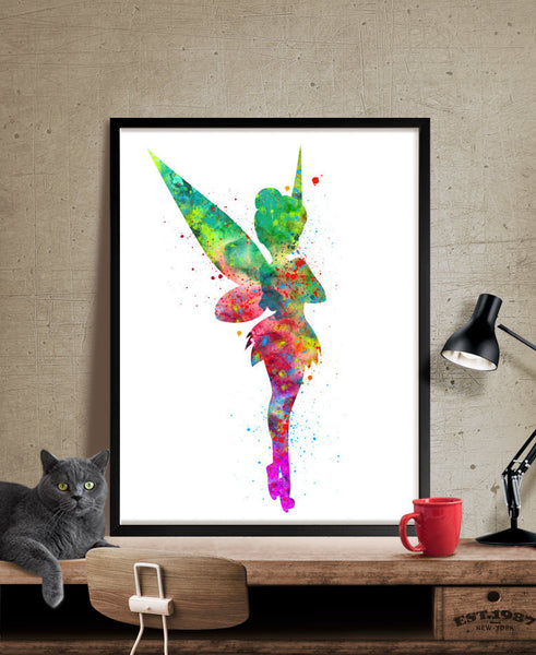 Tinkerbell Art Print, Tinkerbell Watercolor Poster, Nusery Decor Wall Art Print, Girl Nursery Wall Art Poster (69)