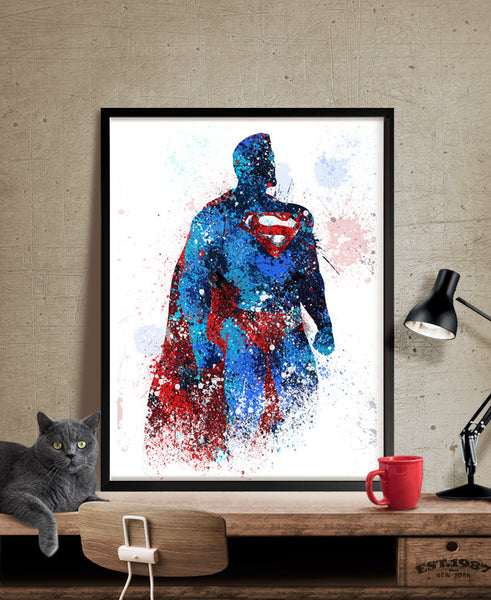 Superman, Superman Poster, Superhero Art Poster, Heroes Painting, Abstract, Superhero Wall Art, Artwork, Gift, Home Decor.Print (146)