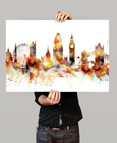 London Skyline, London Cityscape Art, Watercolor Painting, Watercolor Art, London Print, London Map, Art Print,Watercolor Poster(151)