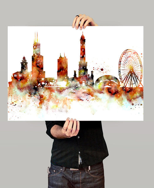Chicago Skyline, Chicago Cityscape Art, Watercolor Painting, Watercolor Art, Chicago Print, Chicago Map, Art Print,Watercolor Poster(149)