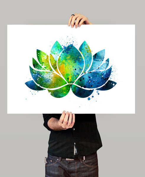 Lotus Flower Wall Art, Lotus Flower Decor, Watercolor Yoga Art, Buddha Art,Wall Art Print Watercolor, Yoga Poster, Lotus Flower Art  (155)