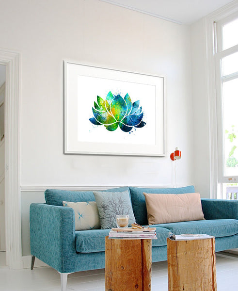 Lotus Flower Wall Art lotus flower wall art, lotus flower decor, watercolor yoga art