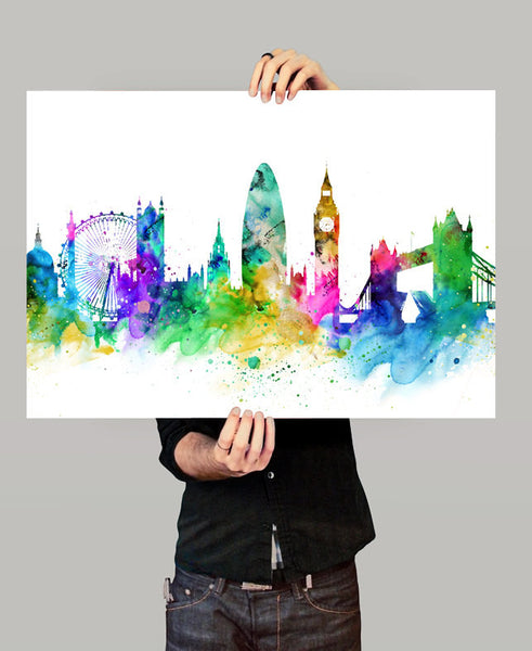 Watercolor Art, London Print, London Map, Art Print,Watercolor Poster, London Skyline, London Cityscape Art, Watercolor Painting(152)