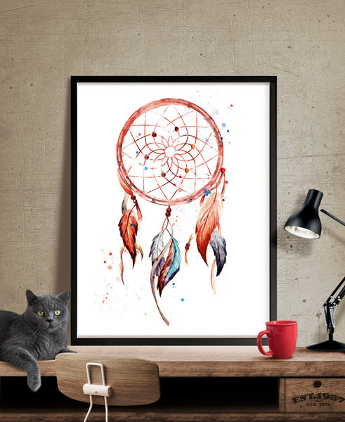 Dreamcatcher, Dreamcatcher Print, Watercolor Painting, Watercolor Art, Watercolor, Art Print, Wall Art, Wall Hanging, Large catcher (158)