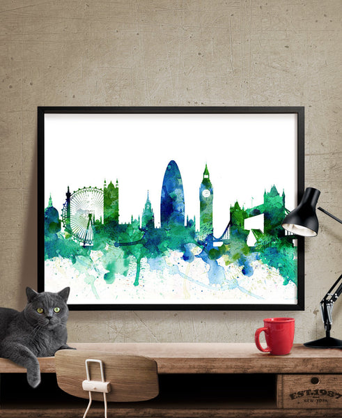 Watercolor Art, London Print, London Map, Art Print,Watercolor Poster, London Skyline, London Cityscape Art, Watercolor Painting(153)
