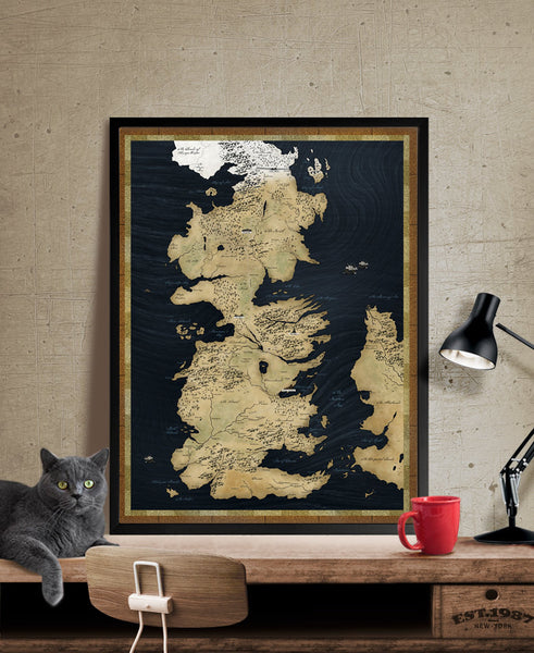 Game of Thrones Map, Westeros Map, Large Map, Vintage Map, Map Print ...